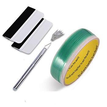 FOSHIO Kit de herramientas de vinilo para envolver el coche 5 metros de diseño de línea de cinta sin cuchillo pegatinas de papel de coche cinta de corte de película cuchillo con Set de espátula