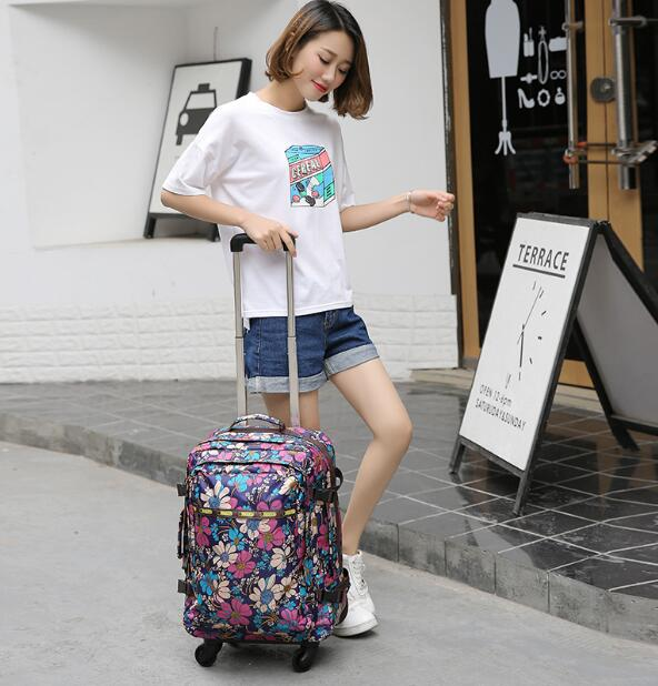 women travel trolley backpack wheeled suitcase  luggage bags travel Backpack bags wheels suitcase Rolling travel bag on wheels