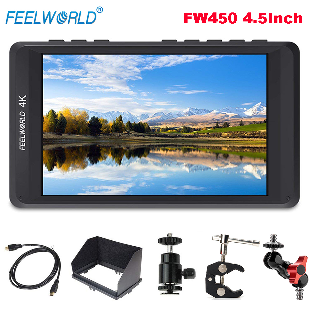 Feelworld FW450 4.5Inch 4K IPS Field HDMI On-Camera Monitor 1280x800 HD Portable LCD Monitor for DSLR + Magic Arm Mount Adapter sports camera gopro selfie extension stick 17 inch adjustable cnc aluminum extension magic arm mount kit for dslr lcd monitor
