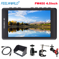 Feelworld FW450 4.5Inch 4K IPS Field HDMI On Camera Monitor 1280x800 HD Portable LCD Monitor for DSLR + Magic Arm Mount Adapter
