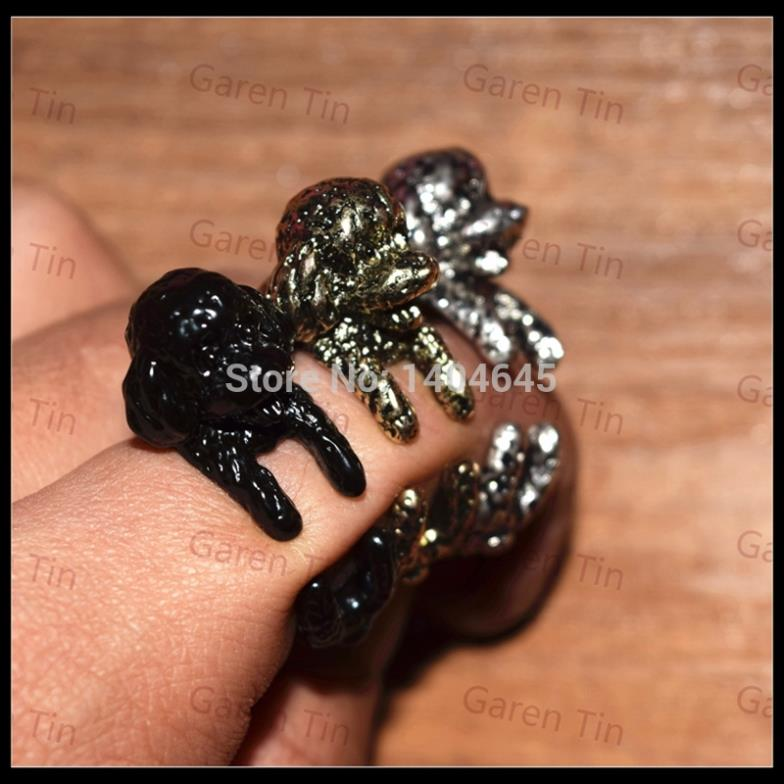 Cute Fashion Antique Handmade Poodle Poodles Dog Rings For Women