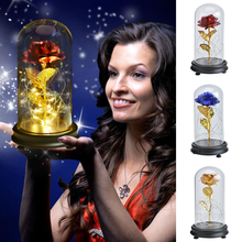 цена Beauty and The Beast Artificial Flowers Eternal Gold Foil Rose with LED Light In Glass Dome Night Lamp Birthday Gift for Girls