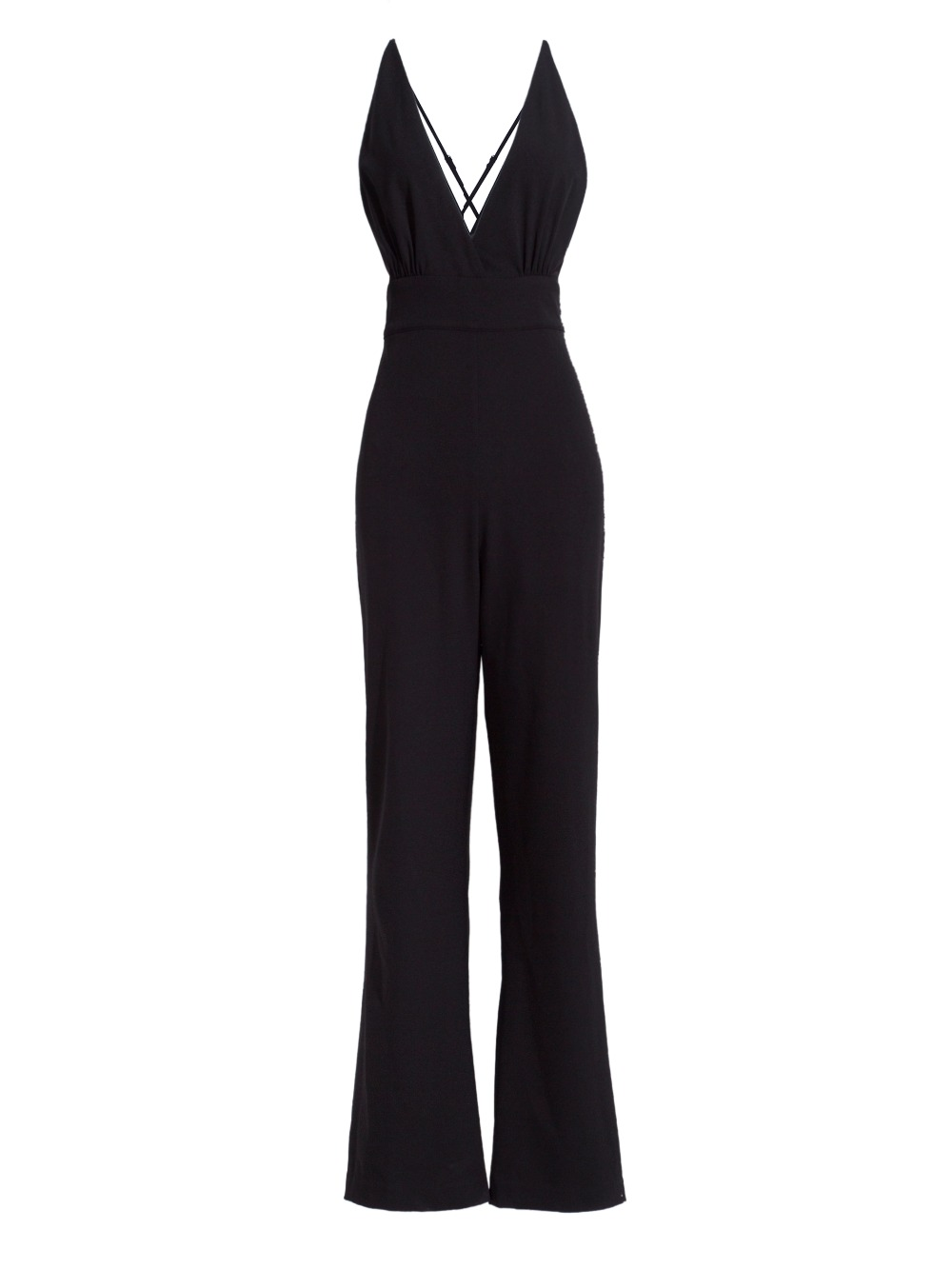 Modstreets 2017 Black Playsuits party Casual long Pants Jumpsuit Rompers Sexy Sleeveless V Neck Overalls Bodysuit Clearance