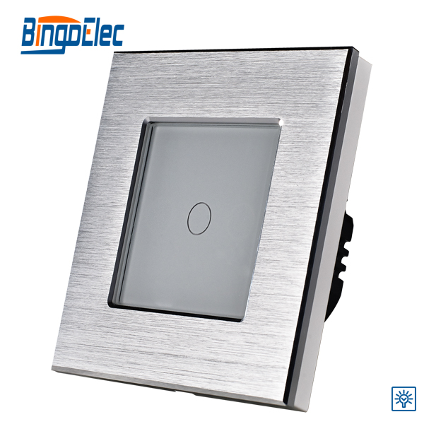 EU/UK standard ,1gang 1way touch screen dimmer light switch 700W ,silver aluminum and glass panel touch switch ,Hot sale ewelink eu uk standard 1 gang 1 way touch switch rf433 wall switch wireless remote control light switch for smart home backlight