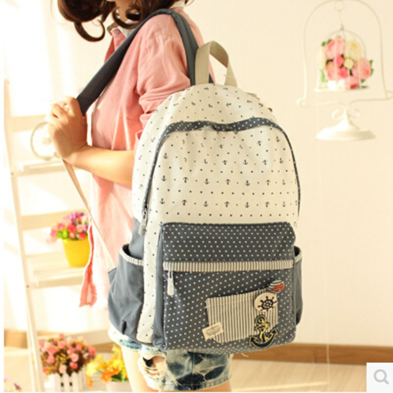 Free Shipping Fashion Canvas Women Backpack School Bag Student Bag Female College Shoulder Bag dot backpacks high quality 2017 fashion women waterproof oxford backpack famous designers brand shoulder bag leisure backpack for girl and college student