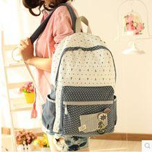 Бесплатная доставка мода холст женщины рюкзак мешок школы студент колледжа сумка dot рюкзаки высокое качество