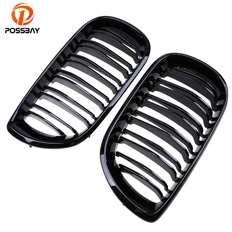 POSSBAY Gloss Black Front Center Grilles for BMW 3-Series E46 316i/318d/318i/320d Touring 2001-2006 Facelift Double Slats Grills possbay matte black front center grille grilles for bmw 3 series e46 325ci 330cd 330ci m3 csl cabrio cabrio 2003 2006 facelift