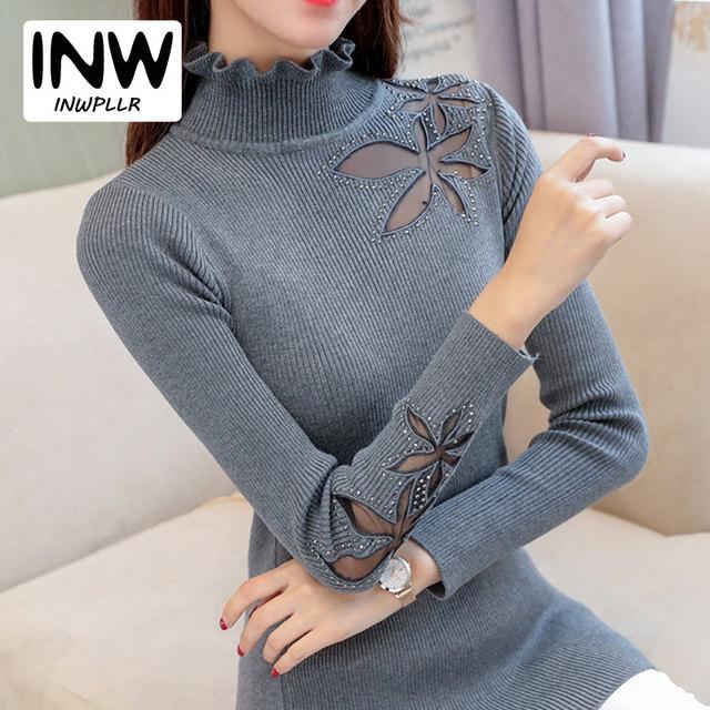 04e1b6f1d 2019 Outono Inverno Mulheres Camisola de Gola Alta Pullover Diamantes  Rendas Patchwork Camisa Pull Malha Sueter