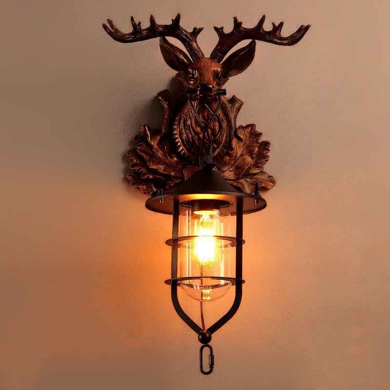 Vintage antlers sconce led wall lights glass+ iron for home bedroom classic surface mounted led wall lamp industrial lighting