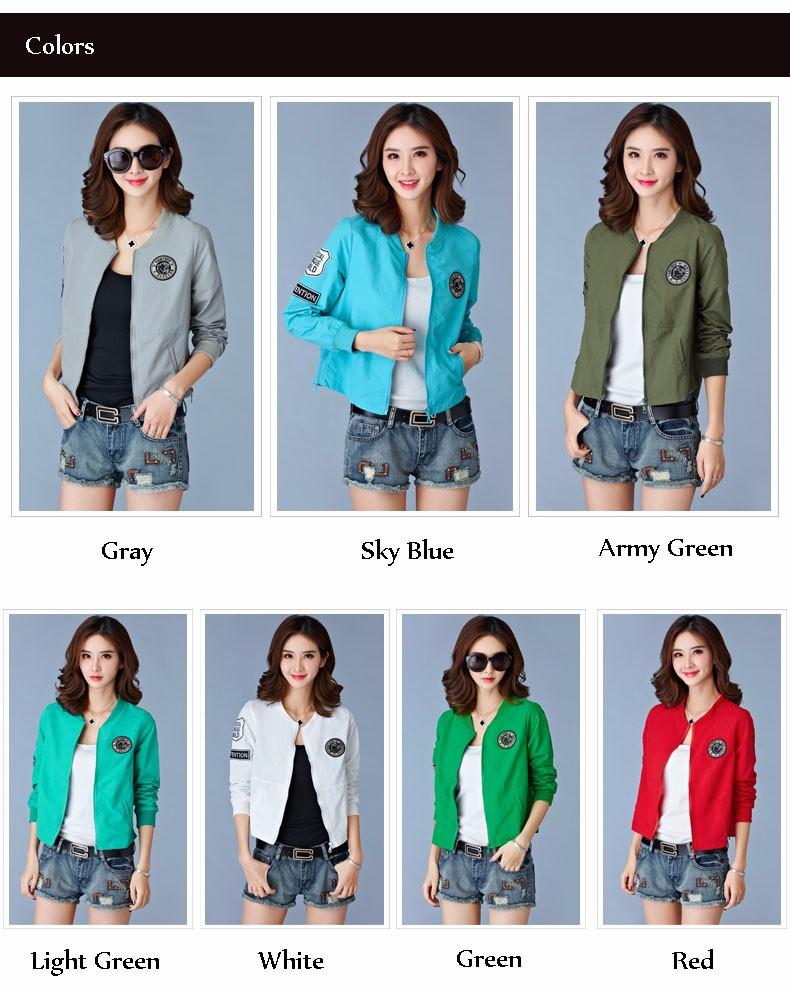 7 Colors Spring Summer Jacket Women Leisure Loose Plus Size Coat O Neck Long Sleeve Autumn Sport Jackets Casaco Feminino 2016 A8 A