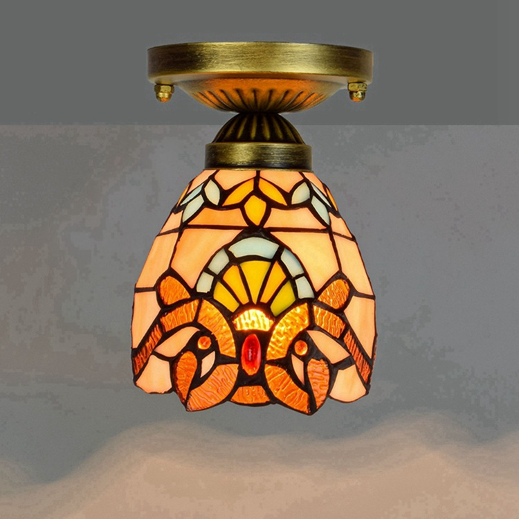 Ou 6 inch 15CM Tiffany coloured glass aisle corridor balcony small ceiling lamp yellow Baroque lamp 8 inch yellow sunflowers down american tiffany glass ceiling decorated with a balcony hallway bathroom kitchen