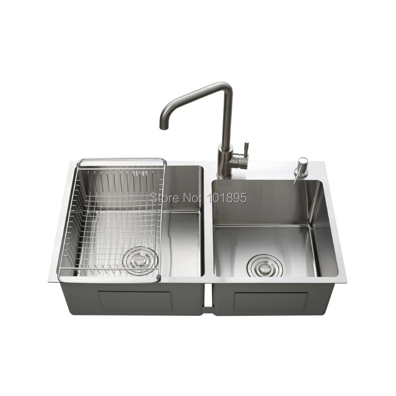 SUS304 Steel Square Double Bowl 800*450*228MM Kitchen Sink X26050