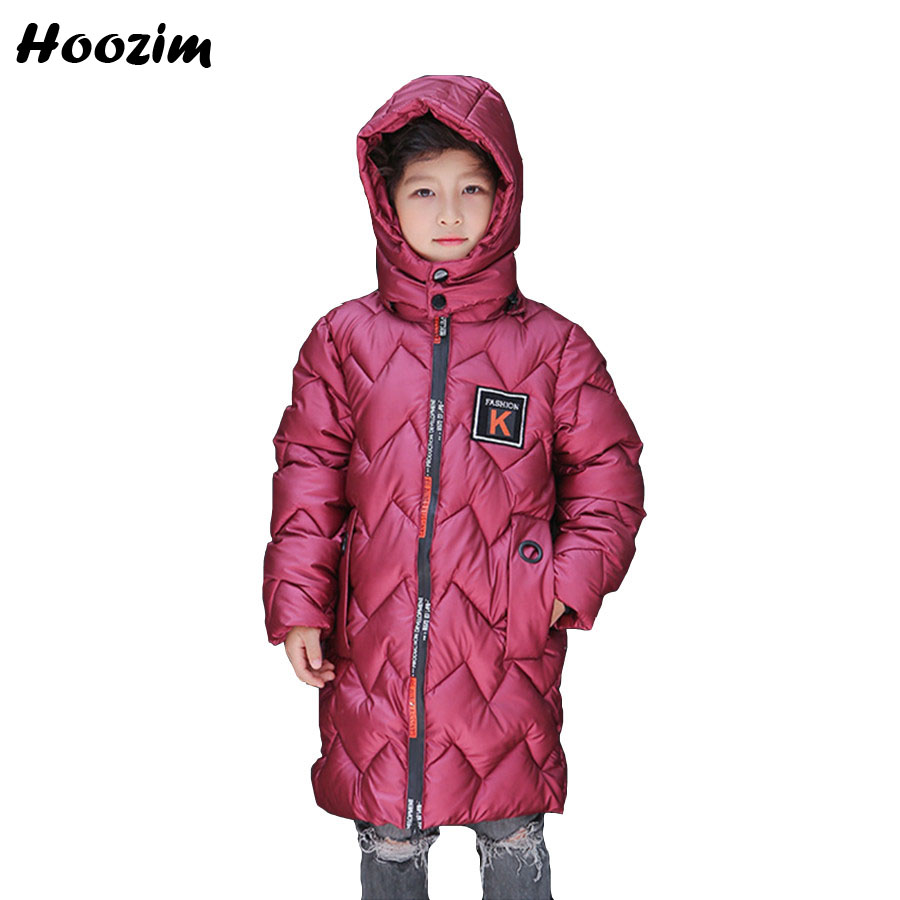 Winter Long Jackets For Boys 10 11 12 Years Fashion Cotton Parka Kids Red Thick Warm Coat Children Autumn Girls Outerwear Green