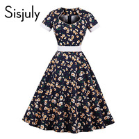 Sisjuly Vintage Dresses 1950s Style Floral Print Sashes Summer Women Elegant Dress 4XL Short Sleeve A