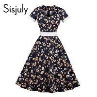 Sisjuly vintage dresses 1950s style floral print sashes summer women elegant dress belts short sleeve a line vintage dress new