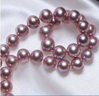 Selling Jewelry>>>HUGE 1813 16mm south sea genuine purple lavender round pearl necklace AA+