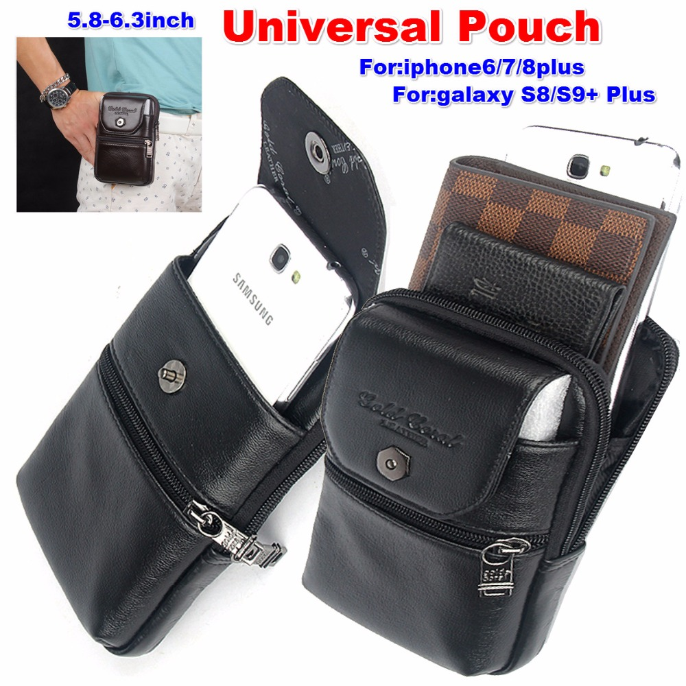 Men Waist Bags Small Mini Card Holder 6 inch Phone Packs Belt Fanny Zip Purse