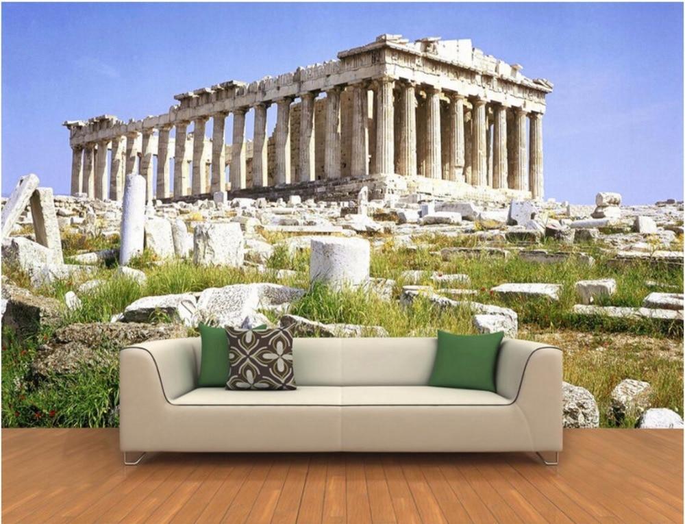 3d room wallpaper custom mural parthenon ruins decoration for Wallpaper home improvement