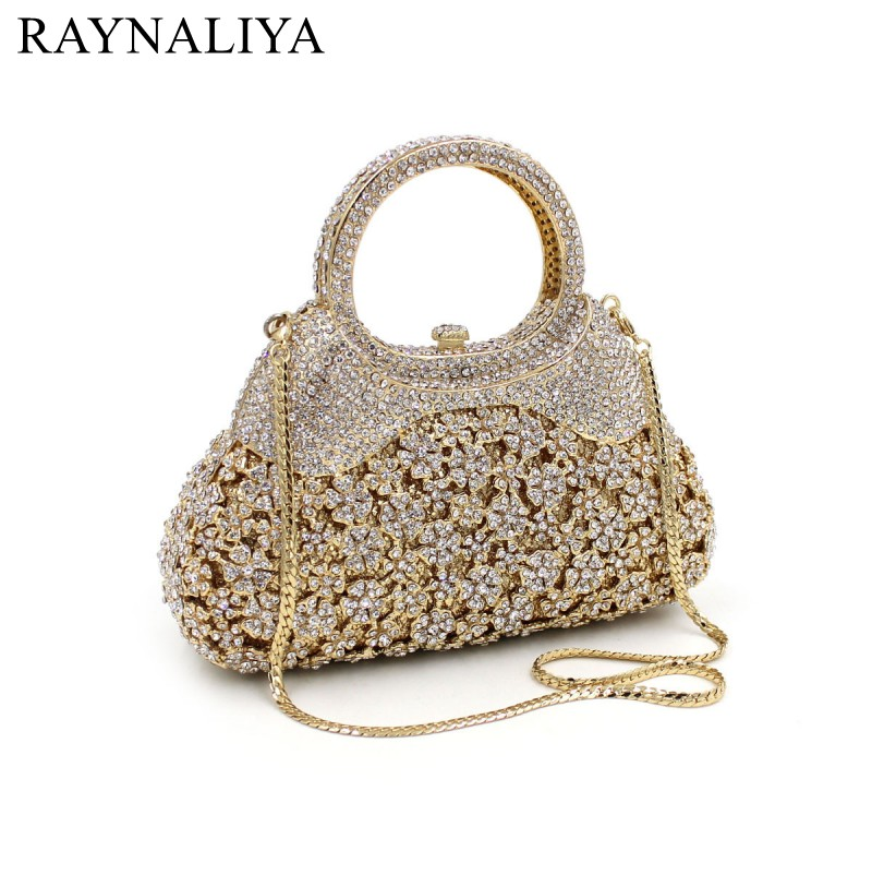Luxury Flower Crystal Evening Bags Special Design Handbag Girl's Party Purse Wedding Clutch Shoulder With Chain Gold SMYZH-F0048 milisente 2016 hot sale handbag luxury crystal evening bags special design for party gold