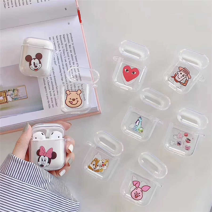 Airpods case Cute for airpods cover Cartoon protective hard case transparent wireless earphone case For iphone Headphone case