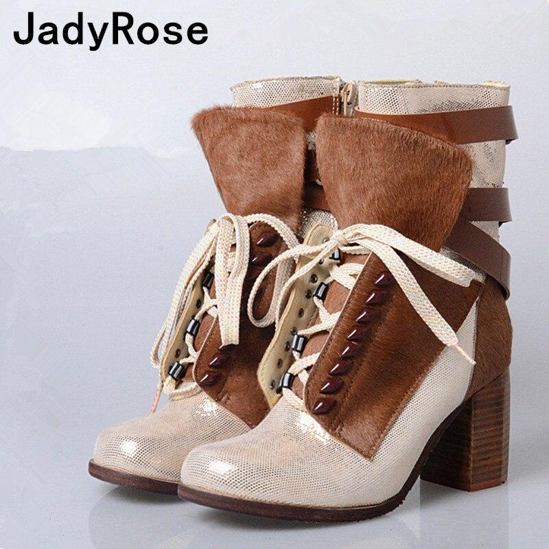 Gladiateur Up rouge Feminino Hauts Chaussures Jadyrose Talons Bottes Crin Lace Cm Botas 8 Mode Chunky Sapato Beige Hiver noir Femmes Mujer Femme 5a11qnxI