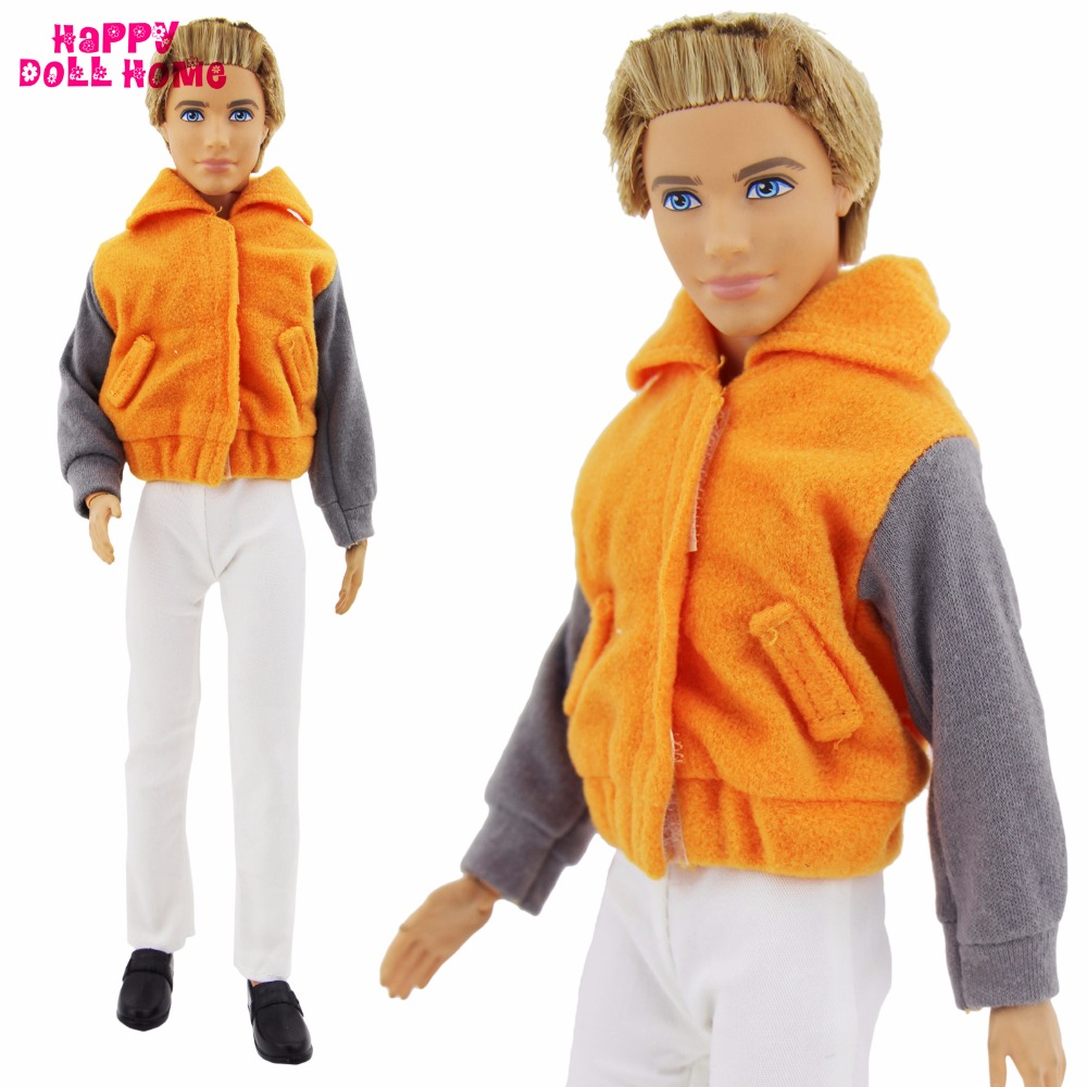 Vogue Prince Outfit Handmade Sportswear Day by day Informal Put on Orange Coat Jacket White Pants Denims Garments For Barbie Ken Doll Toy