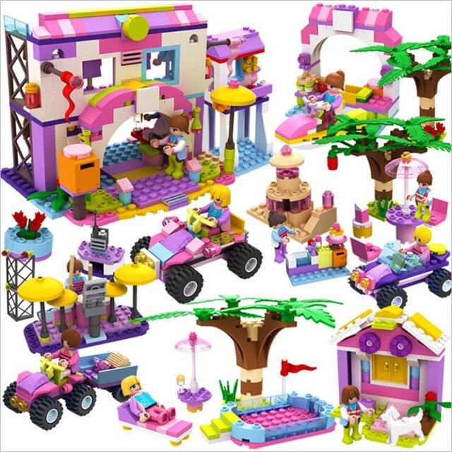 8 в 1 девушка серии дом автомобиль игровая площадка Совместимость Legoings Строительные блоки Набор игрушек DIY развивающие подарки для детей на день рождения