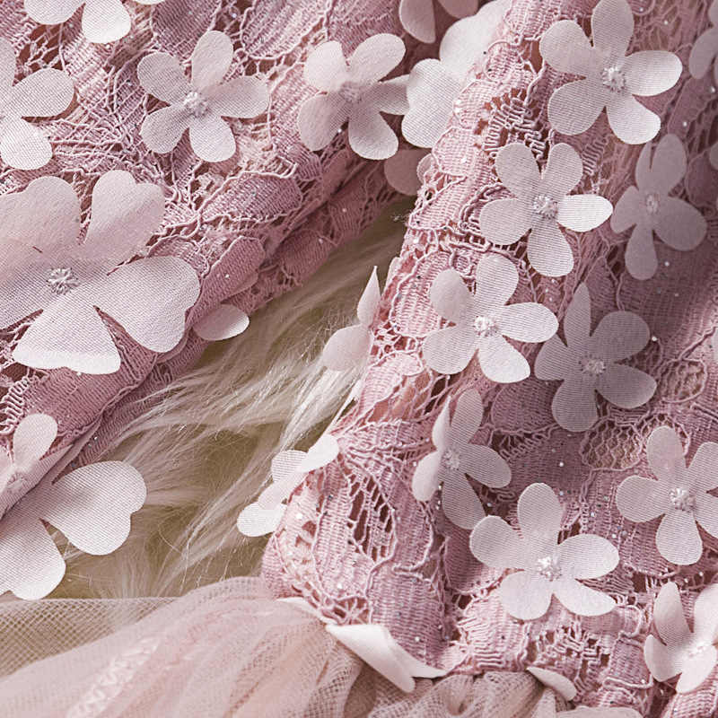 U-SWEAR 2019 года, Новое поступление, Детские Платья с цветочным узором для девочек, платья с длинными рукавами и круглым вырезом, Цветочная аппликация, кружевные бальные платья для девочек