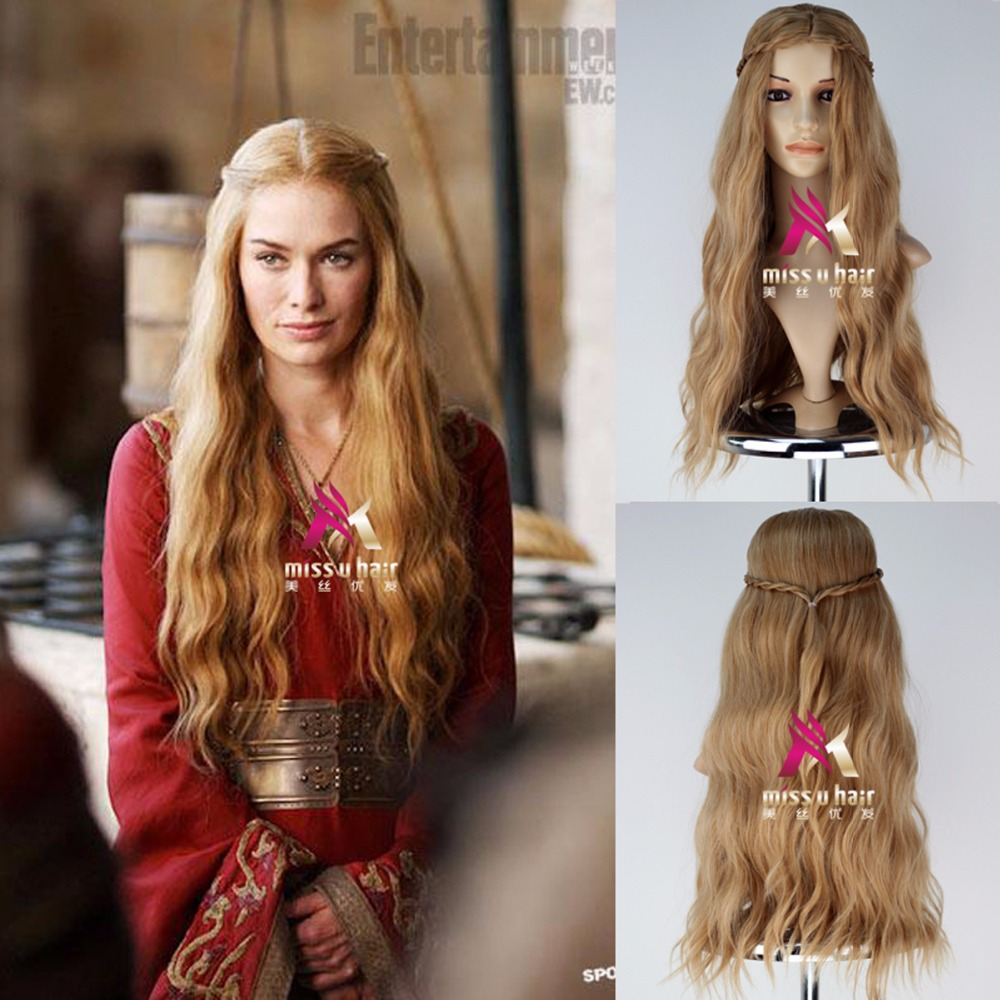 New Arrival Game of Thrones Queen Cersei Lannister Golden Wig Wavy Hair Cosplay Wig Halloween Role Play