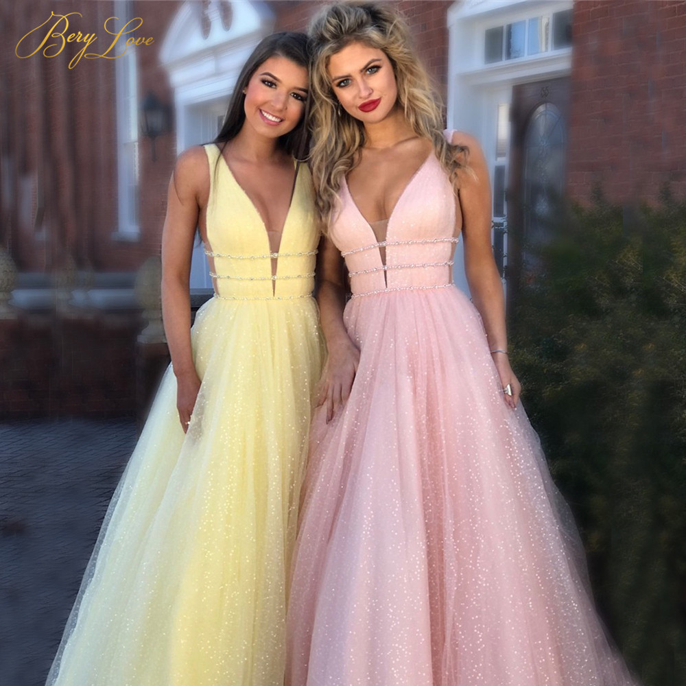 BeryLove Shiny Prom Dress 2019 Pink A-line Deep V-neck Sleeveless Glitter Long Party Dress Formal Elegant Dresses Vestido Format(China)