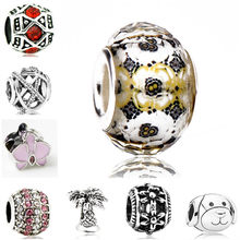 Simple Style Butterfly Dog Fish Love Heart Castle Crystal Pendant Beads Fit Pandora Charm DIY Bracelets & Bangles Femme Jewelry(China)