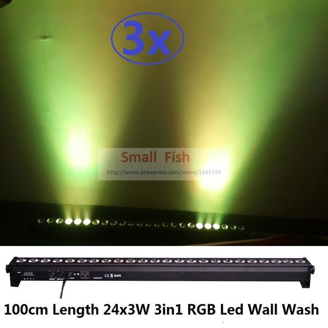 3 xlot new 24x3 w 3in1 rgb dmx led da lavagem da parede de luz led máquina de lavar a paisagem luzes dmx512 indoor led de inundação para baixo de iluminação para dj clube