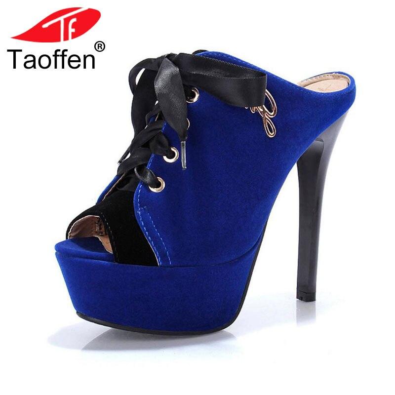 aa59ae461897d TAOFFEN شحن مجاني جودة عالية الكعب الصنادل أزياء النساء اللباس مثير أحذية  منصة مضخات P14167 الساخن بيع EUR حجم 34 -43