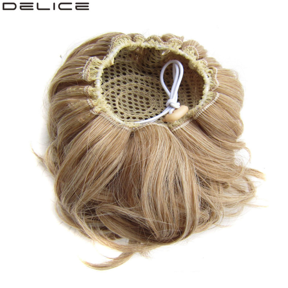 DELICE Syntetisk Curly Chignon Kvinnors Elastic Hair Bun Drawstring Clip In Donut Hair Buns 60g / pc