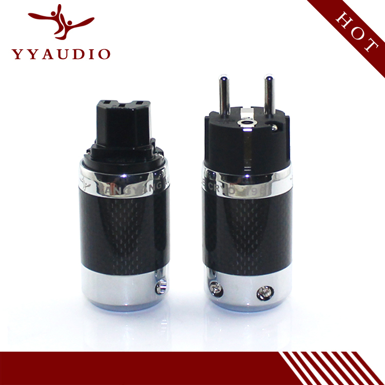 цена на YYAUDIO Rhodium plated EU Schuko power plug Carbon Fiber HiFi Plug connectors Adapter P50 black