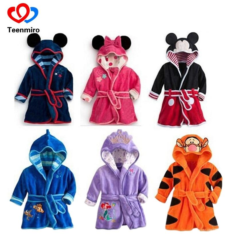 Childrens bathrobe Cute Kids Pajamas Robe Cartoon Mickey Minnie Fleece Baby Bath robes Boys Girls Sleepwear Clothing Spring 2-8