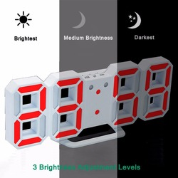 Hot 21.2*8.3*3.5cm Modern Digital LED Table Desk Night Wall Clock Alarm Watch 24 or 12 Hour Display Battery