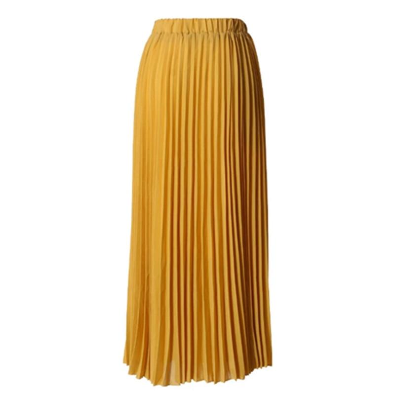 Plus Size Pleated Faldas Mujer Moda 2019 Korean Abaya Muslim Chiffon Bodycon Maxi Skirt Long Womens Skirts Clothes Jupe Femme