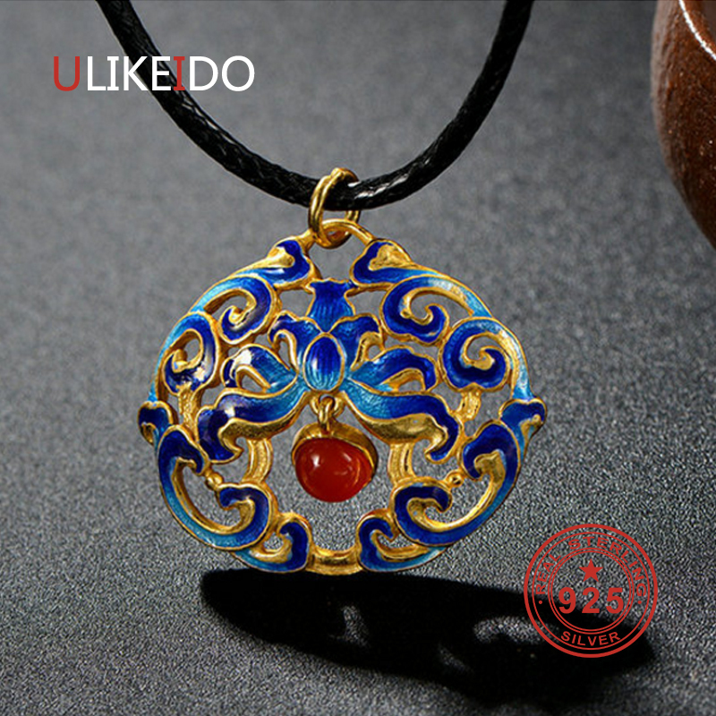 100% S925 Sterling Silver Jewelry Pendant Ethnic Charms Necklace For Women Valentine Gift Fine Jewelrys P2008