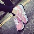Nuevo Otoño de Las Mujeres Zapatos de Malla de Aire Respirable Ocasional Zapatos Planos de Las Mujeres Zapatillas Deportivas Entrenadores Calzado Deportivo 35-40