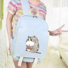 Холст сумка студенческие женский корейской версии кампус Симпатичные студент кошка рюкзак