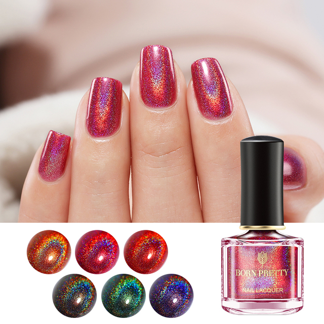 Born Pretty Holographic Laser Nail Polish 6ml Black Red Holo Glitter Varnish Water Based Base