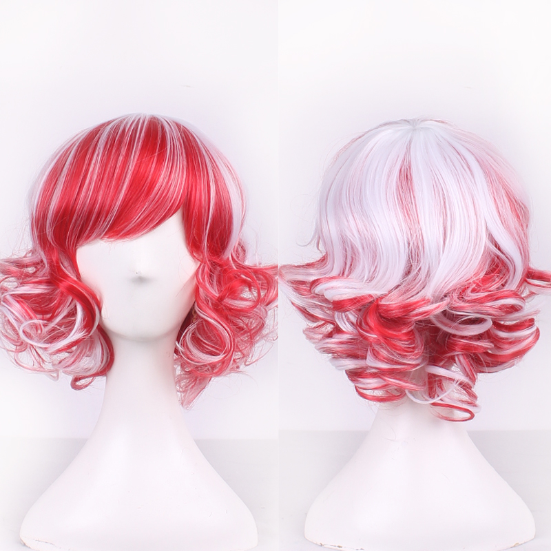 Cheap Harajuku Lolita White Red Ombre Short Curly Wig Cosplay Costume Synthetic Hair Woman Wigs For Party