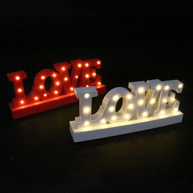 12 широкий мини-белый красный пластиковый любовь светодиодный знаковое событие свет клей любовное письмо ночник Валентина день ...
