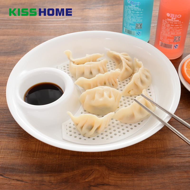 2pcs/lot Popular Plastic Fruit Bowl Dumplings Dish Dual-layer Disc Tool Draining Board with Seasoning Small Plates Set