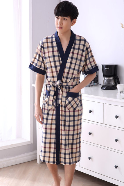 Online Shop 2018 summer men waffle bath robe suck water cotton ...