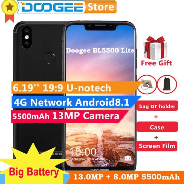"DOOGEE BL5500 Lite 4G 6,19 ""Android 8,1 teléfono móvil 5500 mAh 13.0MP huella dactilar ID desbloquear 2 GB 16 GB GB Dual SIM Smartphone"