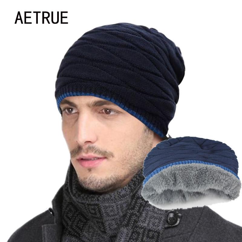 2018 ჩამოსვლის ბეიანიები ნაქსოვი ქუდი მამაკაცის ზამთრის ქუდები ქალთა კაცებისთვის კეპები Gorros Warm Moto Fur Winter Beanie Fleece Knit Bonnet Hat