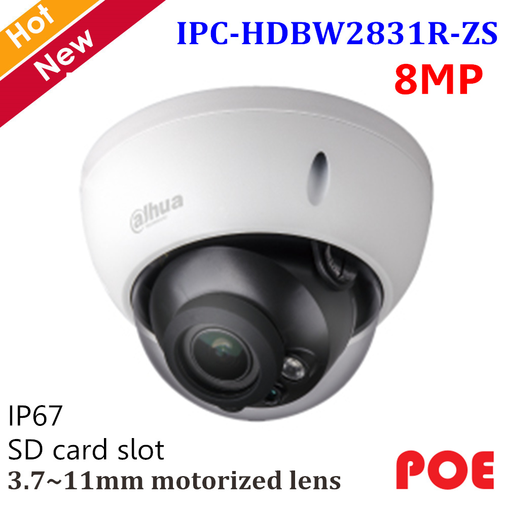 Dahua English 8mp H.265 IP Camera IPC-HDBW2831R-ZS 8MP IR Dome Camera 3.7~11mm Motorized Lens Support POE And SD Card Slot 128G