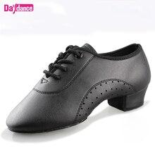Erkek erkek dans ayakkabıları siyah düşük topuklu balo salonu dans ayakkabıları Tango Salsa Rumba Modern latin ayakkabı Boys çocuklar için